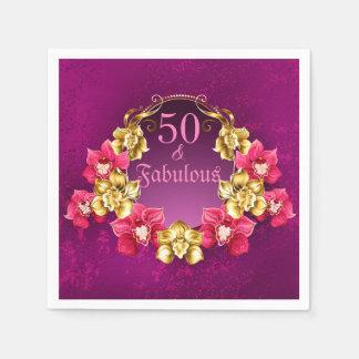 Serviette Jetable 50 et or fabuleux et orchidées roses