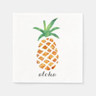 Serviette Jetable Aloha ananas tropical d'aquarelle