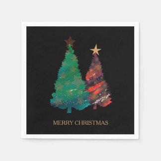 Serviette Jetable Arbre de Noël scintillant peint à la main