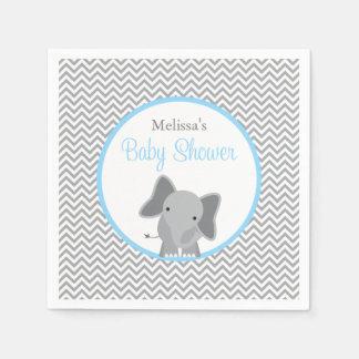 Serviette Jetable Baby shower bleu-clair de Chevron d'éléphant