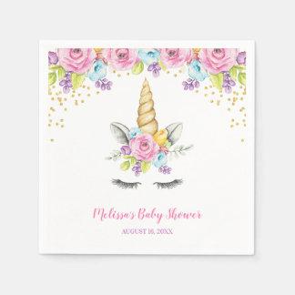 Serviette Jetable Baby shower floral de licorne d'aquarelle