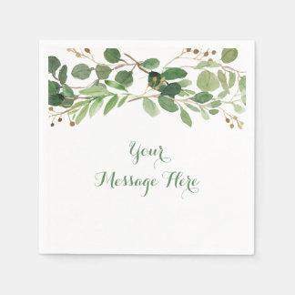 Serviette Jetable Baby shower floral vert rustique
