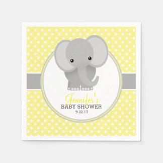 Serviette Jetable Baby shower (jaune) d'éléphant de bébé