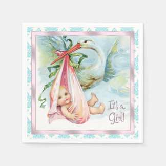 Serviette Jetable Baby shower vintage de cigogne