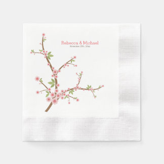 Serviette Jetable Belle fleur rose de prune