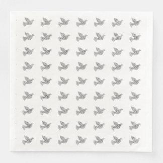 Serviette Jetable Blanc de noir de typographie de colombe de Joyeux