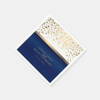 Serviette Jetable Blanc et bleu marine avec des points de confettis
