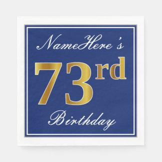 Serviette Jetable Bleu élégant, anniversaire d'or de Faux