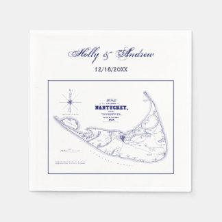 Serviette Jetable Bleu marine vintage de carte de mA d'île de
