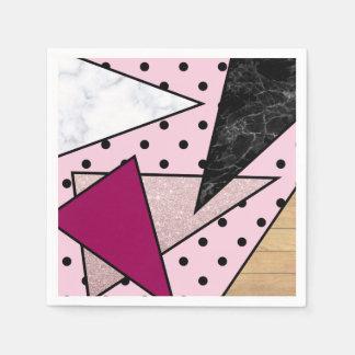 Serviette Jetable Bois rose géométrique élégant de marbre de parties
