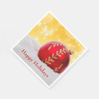 Serviette Jetable Boule de Noël de neige de Bokeh de Noël