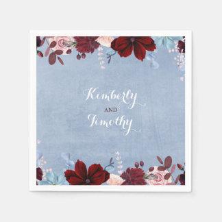 Serviette Jetable Bourgogne et aquarelles florales bleues