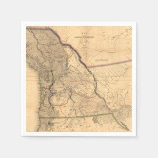 Serviette Jetable Carte 1841 du nord-ouest Pacifique de l'Orégon de