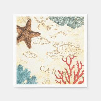 Serviette Jetable Carte rustique et corail d'étoiles de mer des