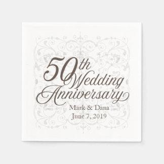 Serviette Jetable cinquantième Serviette d'anniversaire de mariage
