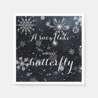 """Serviette Jetable Citez """"un flocon de neige est le papillon de"""
