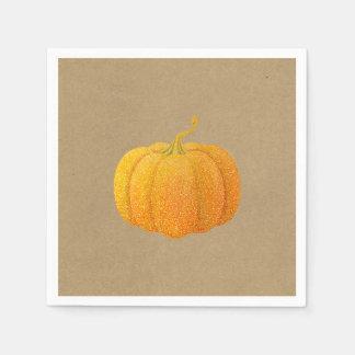 Serviette Jetable Citrouille d'automne scintillé orange de parties
