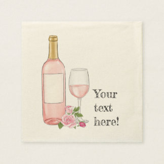 Serviette Jetable Conception d'aquarelle de vin rosé