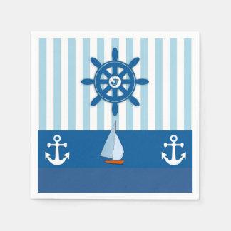 Serviette Jetable Conception orientée nautique bleue et blanche de