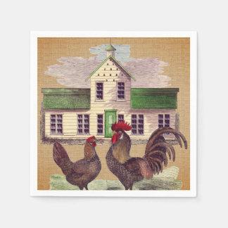 Serviette Jetable Conception rustique de poulets de basse cour d'art