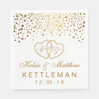 Serviette Jetable Confettis élégants d'or sur l'arrière - plan blanc