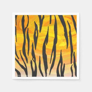 Serviette Jetable Copie noire et orange de tigre