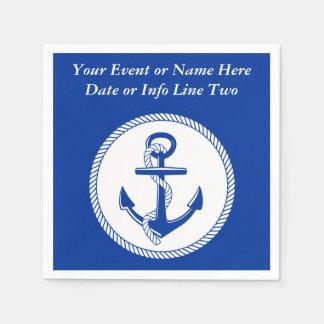 Serviette Jetable Coutume Roping #2 de mer d'ancre bleue nautique de