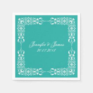 Serviette Jetable Cru blanc de mariage de bleu de turquoise floral