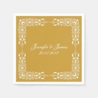 Serviette Jetable Cru blanc de mariage d'or floral