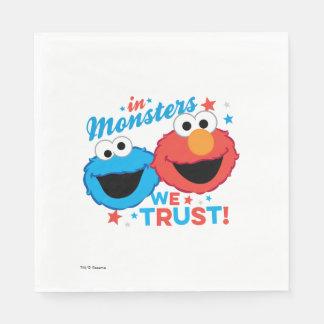 Serviette Jetable Dans les monstres nous faisons confiance !