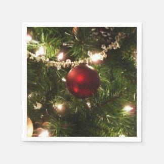 Serviette Jetable De Noël de l'arbre I de vacances vert et rouge