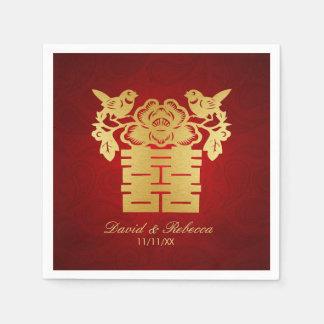 Serviette Jetable Double symbole de bonheur d'inséparables chinois