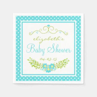 Serviette Jetable Douche de bébé bleu d'oeufs de merles florale