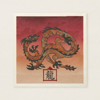 Serviette Jetable Dragon rouge chanceux, 龙