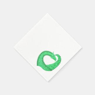 Serviette Jetable Dragon vert de coeur sur le blanc
