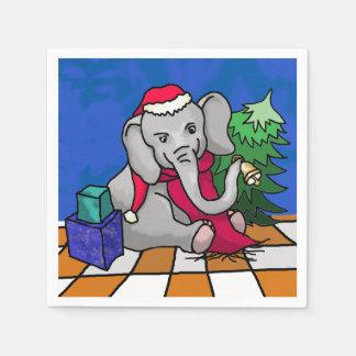 Serviette Jetable Éléphant coloré mignon de Père Noël avec l'arbre