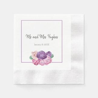 Serviette Jetable Épouser ultra-violet et rose de roses