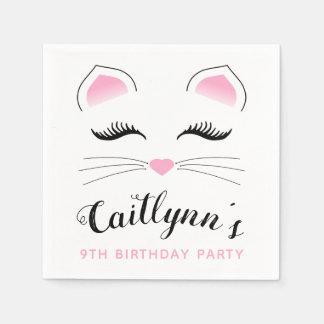 Serviette Jetable Fête d'anniversaire fascinante de chat