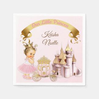 Serviette Jetable Fille royale de princesse Castle Carriage Pink