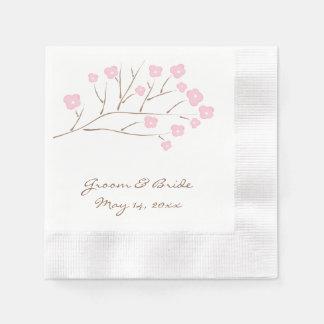 Serviette Jetable Fleurs de cerisier dans le mariage rose