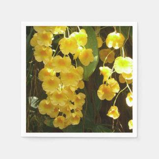 Serviette Jetable Fleurs tropicales accrochantes d'orchidées jaunes