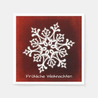 Serviette Jetable Flocon de neige blanc sur Fröhliche rouge foncé