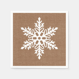 Serviette Jetable Flocon de neige sur Noël de style campagnard de
