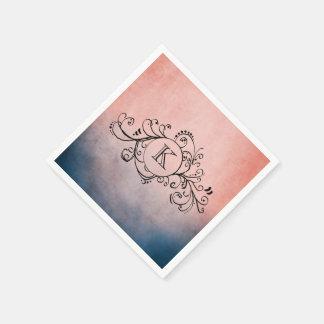 Serviette Jetable Flourish de Bohème bleu et rose rustique