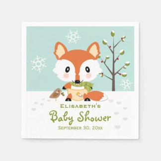 Serviette Jetable Fox d'hiver dans le baby shower de