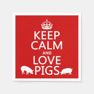 Serviette Jetable Gardez le calme et aimez les porcs (toutes les