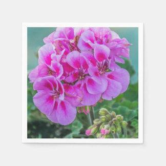 Serviette Jetable Géraniums roses