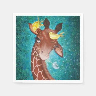 Serviette Jetable Girafe mignonne avec des oiseaux