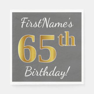 Serviette Jetable Gris, anniversaire d'or de Faux soixante-cinquième