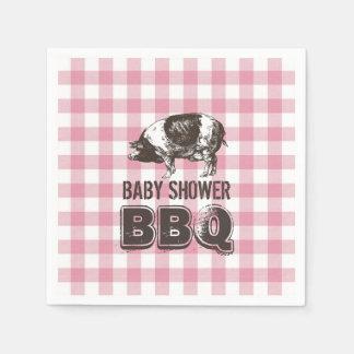 Serviette Jetable Guingan rose de BBQ de rôti de porc de baby shower